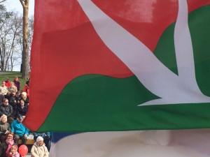 Vasemmistoliiton punavihreä lippu liehui vasemmiston yhteisessä vappujuhlassa