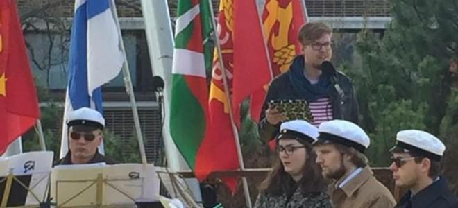 Vasemmistonuorten pääsihteeri Antti Kettunen puhui työväen yhteisessä vappujuhlassa Keravalla