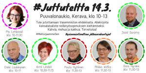 Juttuteltalla Pia Lohikoski, Erkki Laukkanen, Oula Hyrske, Armi Lindell, Paula Hyttinen, Pirkko Kotila, Jussi Saramo