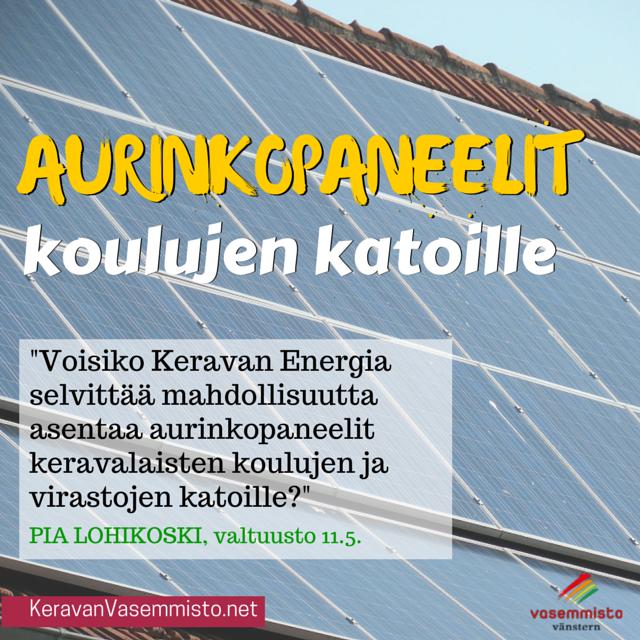 Aurinkopaneelit koulujen katoille